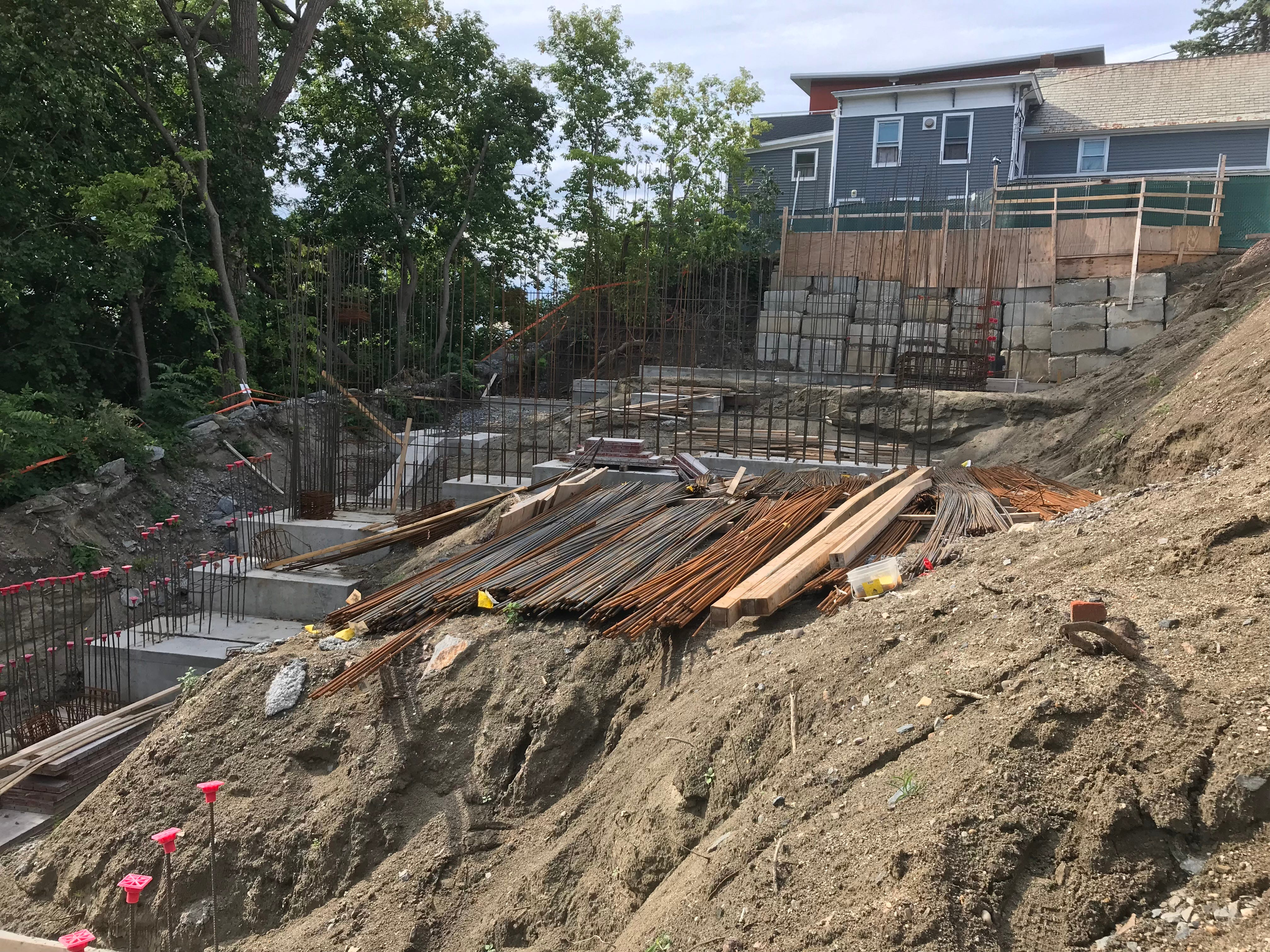 "Foundation supports are part of the preparation for stabilizing a steep hill overlooking Lake Champlain as part of the ""One Lakeview"" apartment project on Sept. 6, 2018."