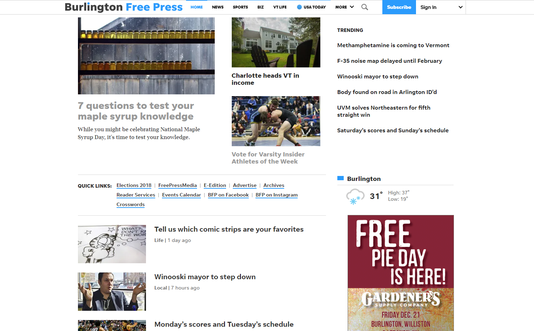 Burlington Free Press Homepage