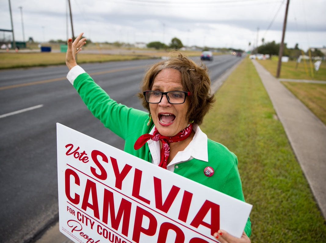Sylvia Campos, candidate for Corpus Christi City Council District 2, campaigns outside the Greenwood Senior Center on Tuesday, Dec. 18, 2018.