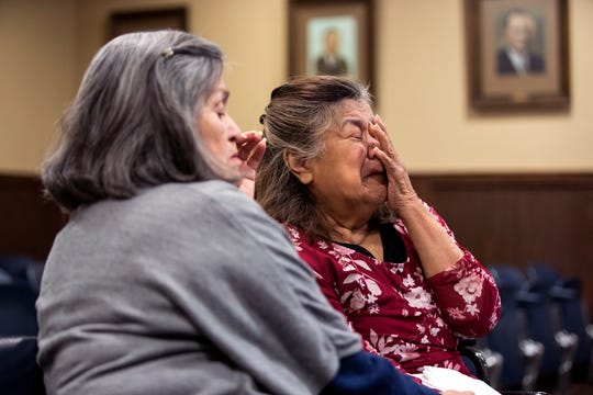 Gloria Ramirez (left) and San Juanita Vega break down during testimony during the punishment phase of the trial of Cedric Green, who was convicted Monday, December 10, 2018, in the murder of Vega's daughter, Elizabeth Stephanie Montez, a transgender woman. Green was also convicted of engaging in organized criminal activity.
