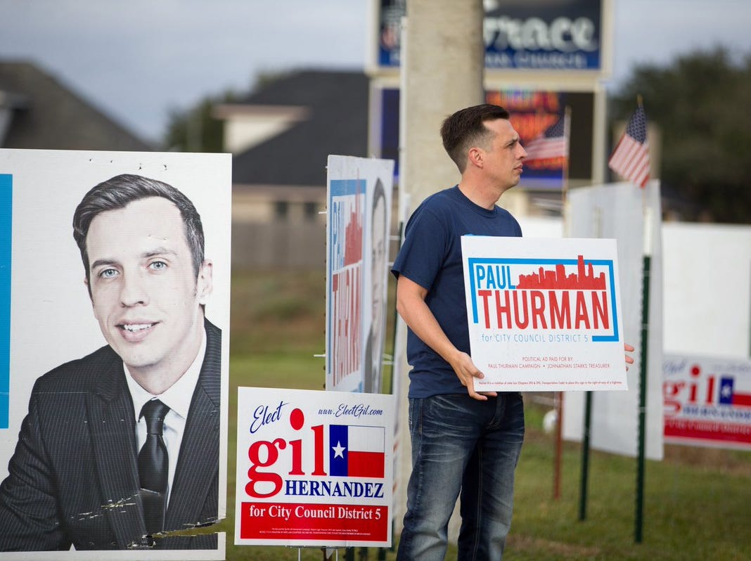 Paul Thurman, candidate for Corpus Christi Council District 5, campaigns outside Grace Presbyterian Church on Tuesday, Dec. 18, 2018.