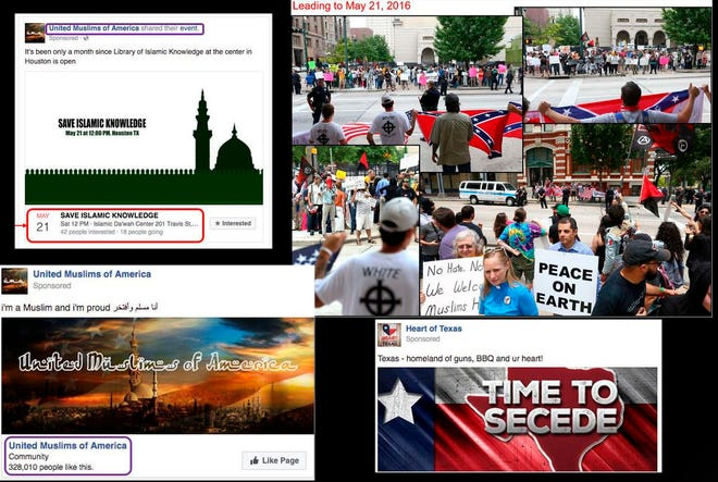Screenshots released by federal lawmakers of Russian-linked Facebook pages promoting anti-Muslim and pro-Muslim rallies on the same day in 2016 in Houston.