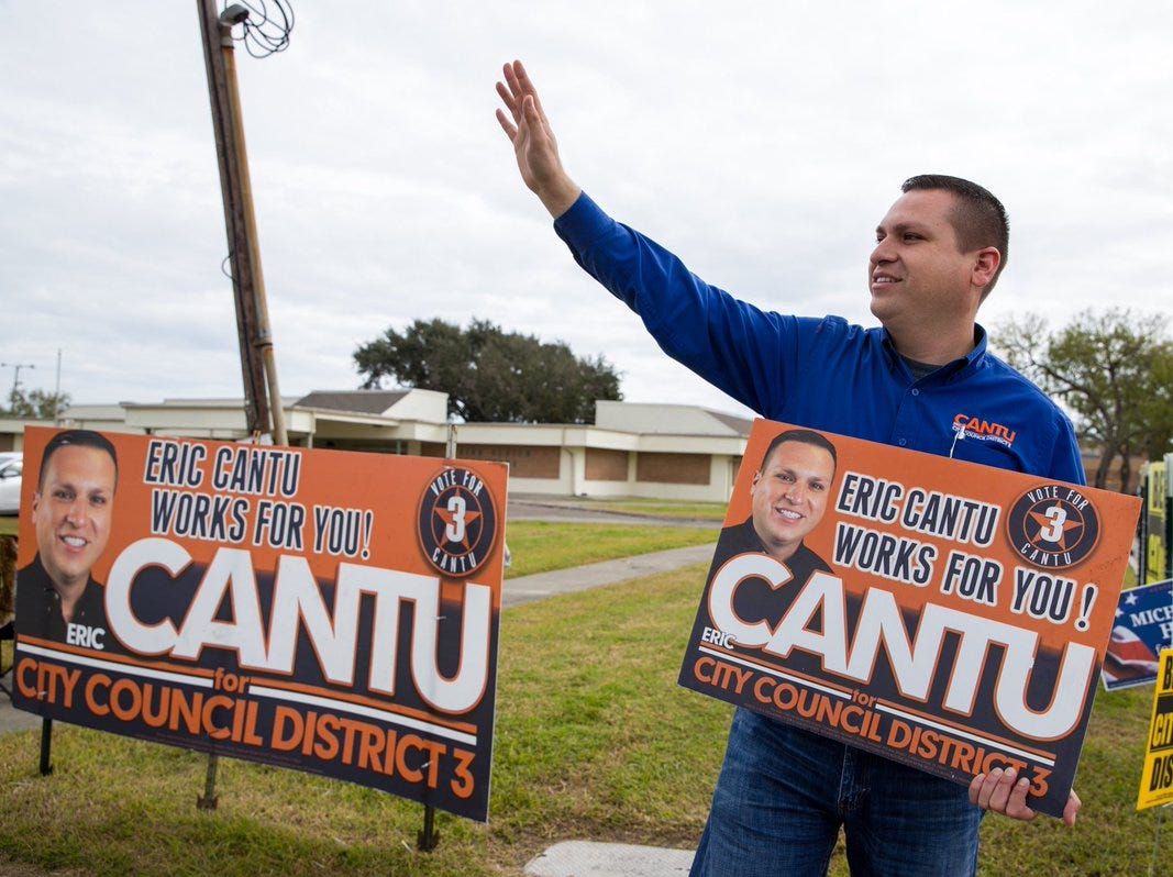 Eric Cantu, candidate for Corpus Christi City Council District 3, campaigns outside the Greenwood Senior Center on Tuesday, Dec. 18, 2018.