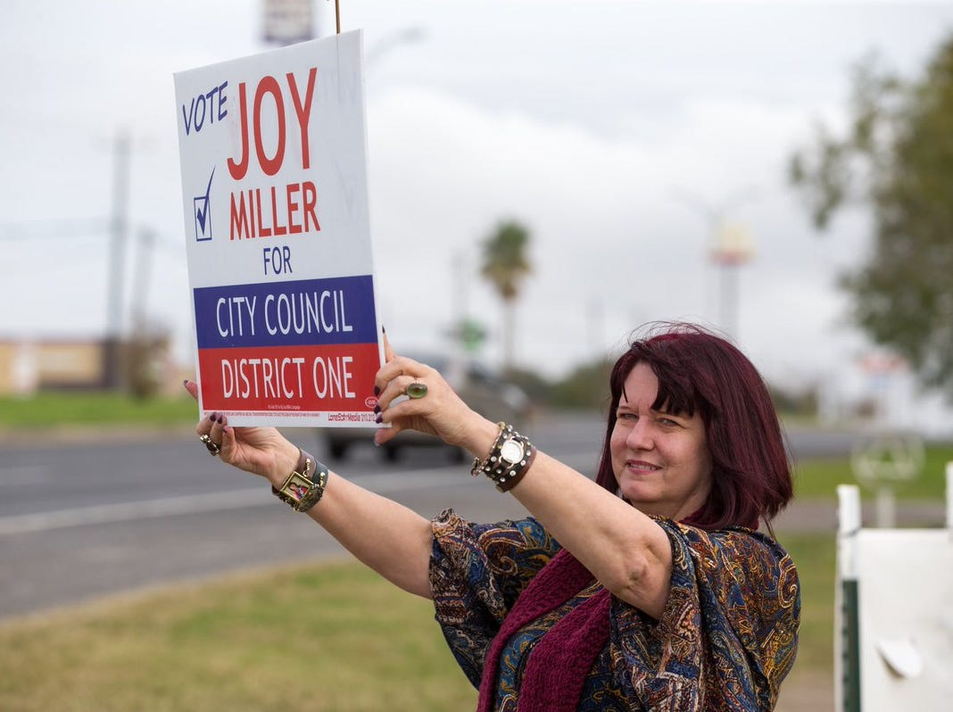 Joy Miller, Corpus Christi City Council candidate for District 1, campaigns outside Hilltop Community Center. on Tuesday, Dec. 18, 2018.