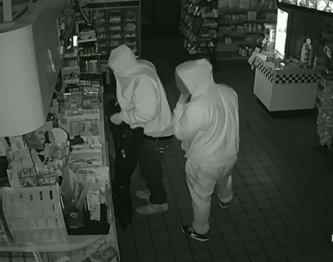 Evesham police are seeking two men for the Dec. 14 burglary of a Pantry One convenience store.