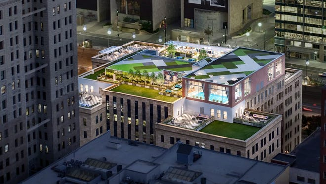 A rendering of the new rooftop bar and restaurant on top of the City Club Apartments in Downtown Cincinnati.