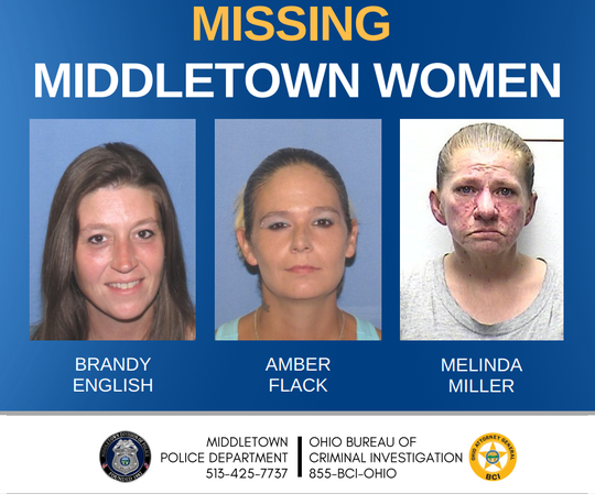 A missing poster featuring Brandy English, Amber Flack and Melinda Miller