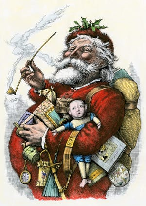 Merry old Santa Claus, 1880s. Hand-colored woodcut of a 19th-century Thomas Nast illustration. (North Wind Picture Archives via AP Images)