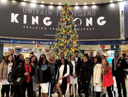 The Kean University Gospel Choir at Penn Station as they head to their performance at the Radio City Music Hall Christmas Spectacular on December 2.