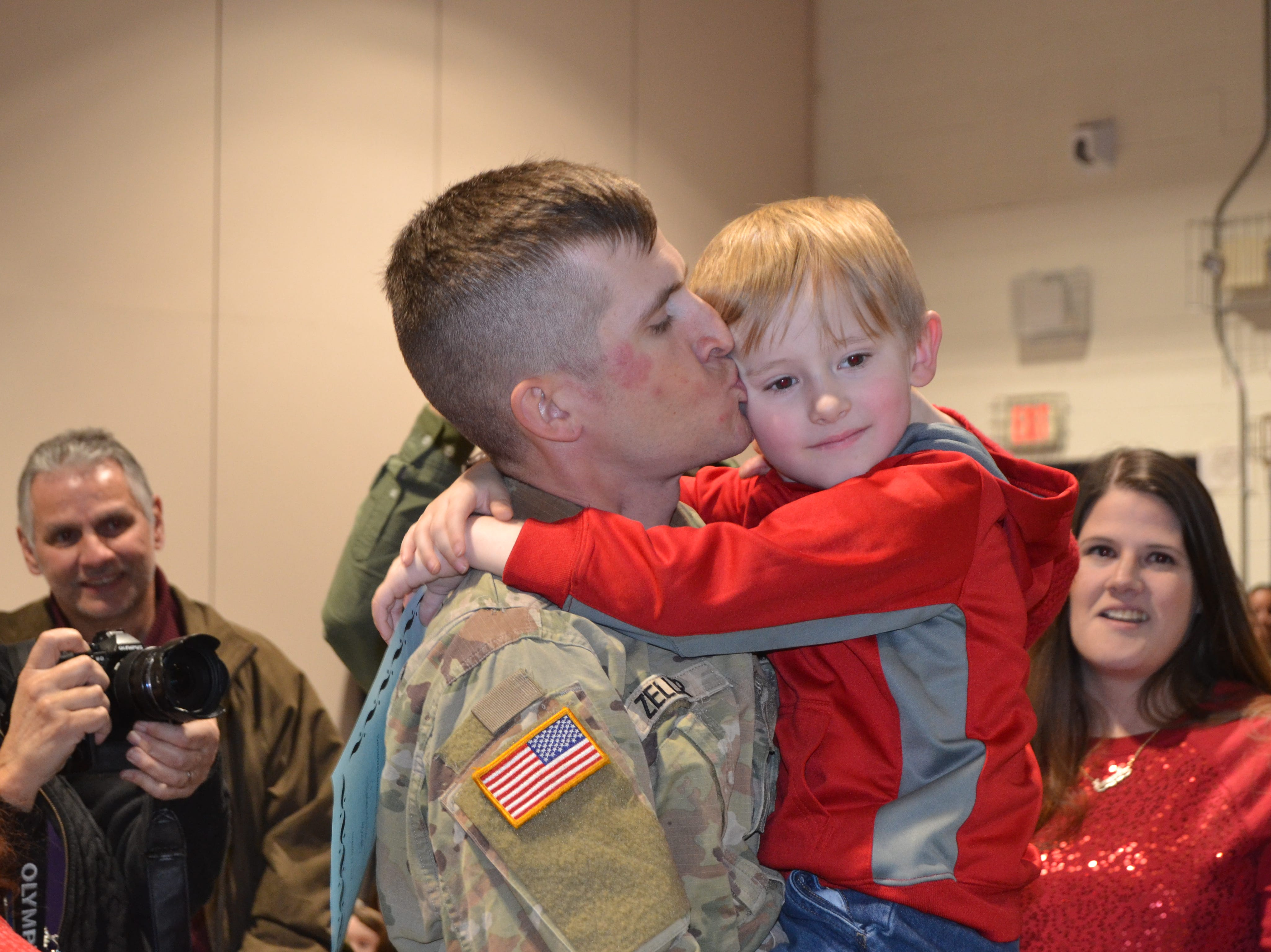 On Monday, Timothy Zeller, a private in the U.S. Army, who has been stationed in southern California since early July, was reunited with his son, Abel Towers-Zeller, 6, during a surprise visit to  Raymond E. Voorhees Elementary School in Old Bridge on Monday. They were reunited during an assembly with the theme of caring.