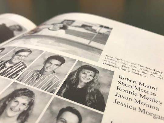 """Aquaman"" star Jason Momoa, pictured with the sophomore class in the 1995 Norwalk High School yearbook."