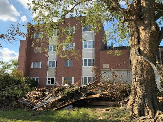 Of  725 windows at The Embers complex, 570 windows were shattered after a tornado hit Marshalltown on July 19. Downed trees blocked traffic on nearby State Street.