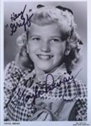 "An autographed photograph of Gayla Peevy, addressed to Griff, the Drake University mascot. Peevy sang ""I Want A Hippopotamus For Christmas,"" a song written by former Drake student John Rox."