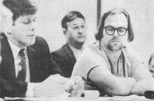Charles LaSage, right, listens as Polk County Attorney James Sarcone questions a witness during a 1991 parole violation hearing at the Polk County jail. At the time, LaSage was a suspect in the death of Rosalyn Barnes. He was later convicted of killing the 11-year-old.