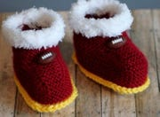 Iowa State-themed baby booties