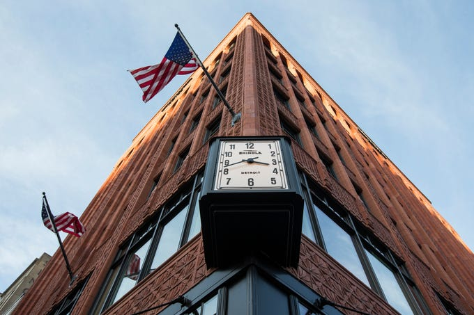 A clock installed outside of the Shinola Hotel in downtown Detroit, Dec. 18, 2018.