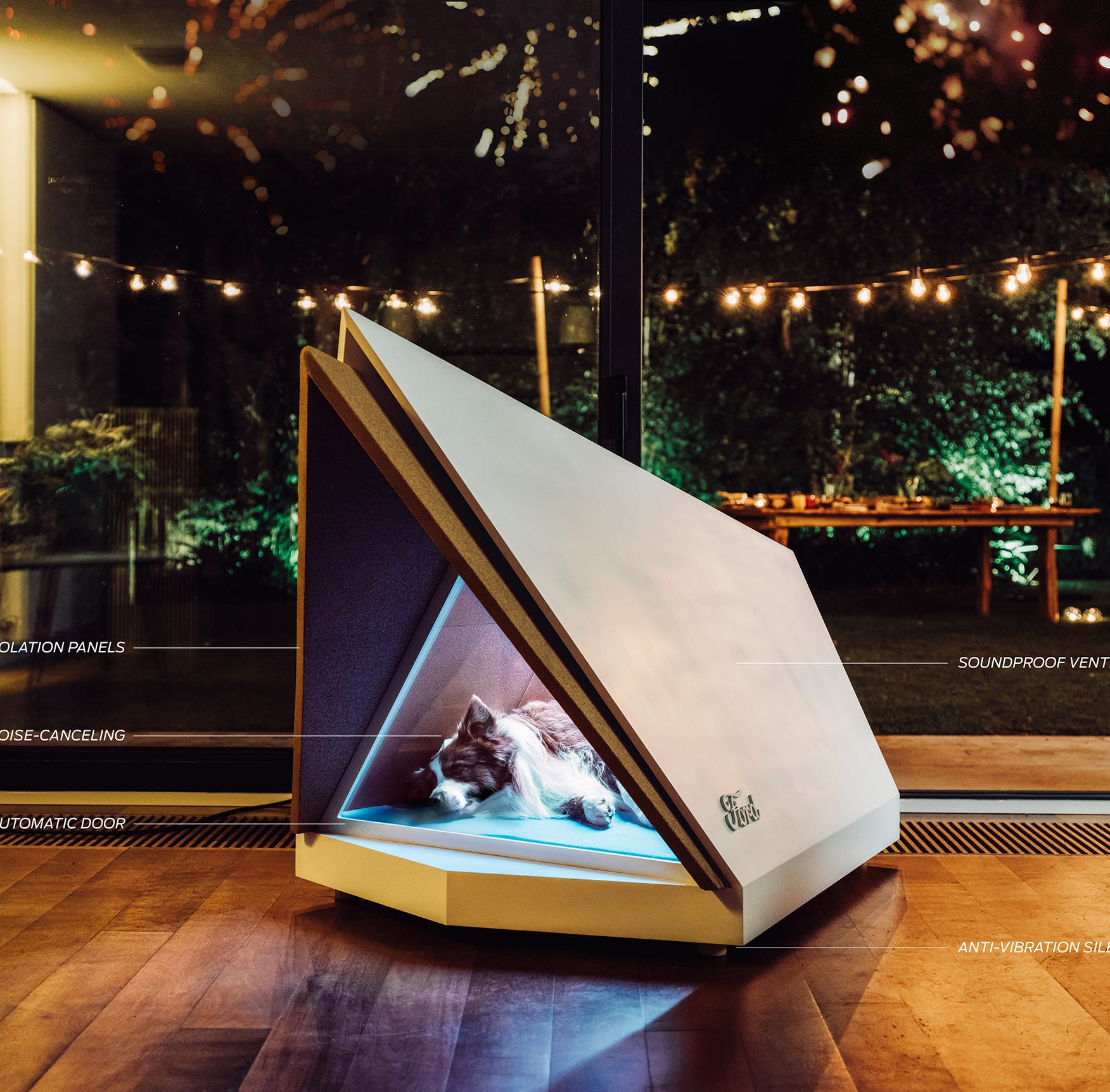 Dog kennel designed by Ford blocks fireworks, thunder noise