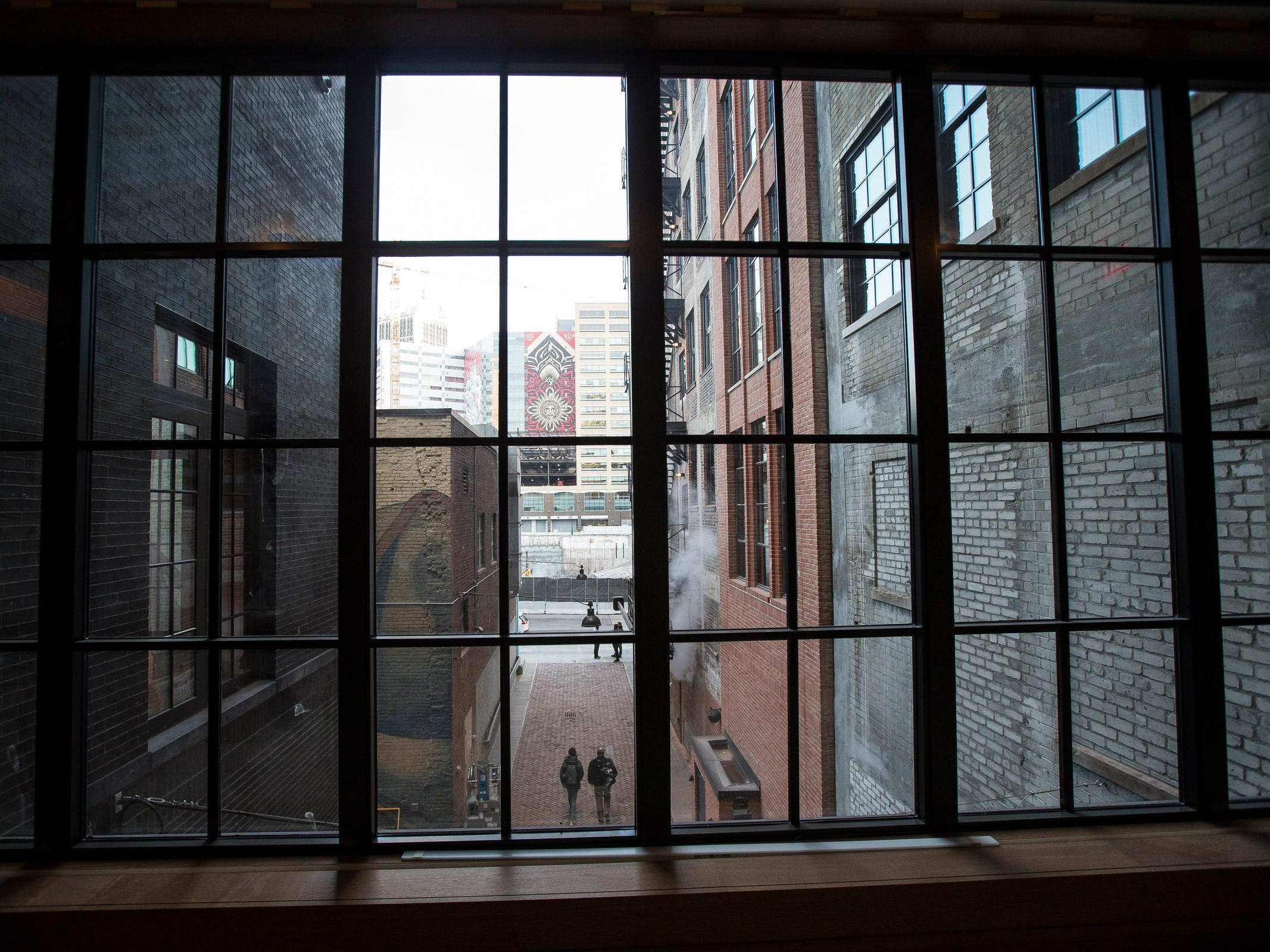 Overseeing Parker's Alley fromShinola Hotel in downtown Detroit, Dec. 18, 2018.