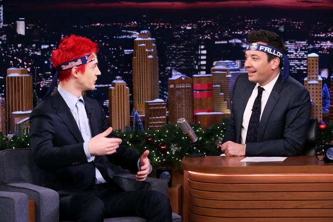 """Internet personality Tyler 'Ninja' Blevins talks with host Jimmy Fallon on Dec. 17, 2018 on """"The Tonight Show with Jimmy Fallon."""""""