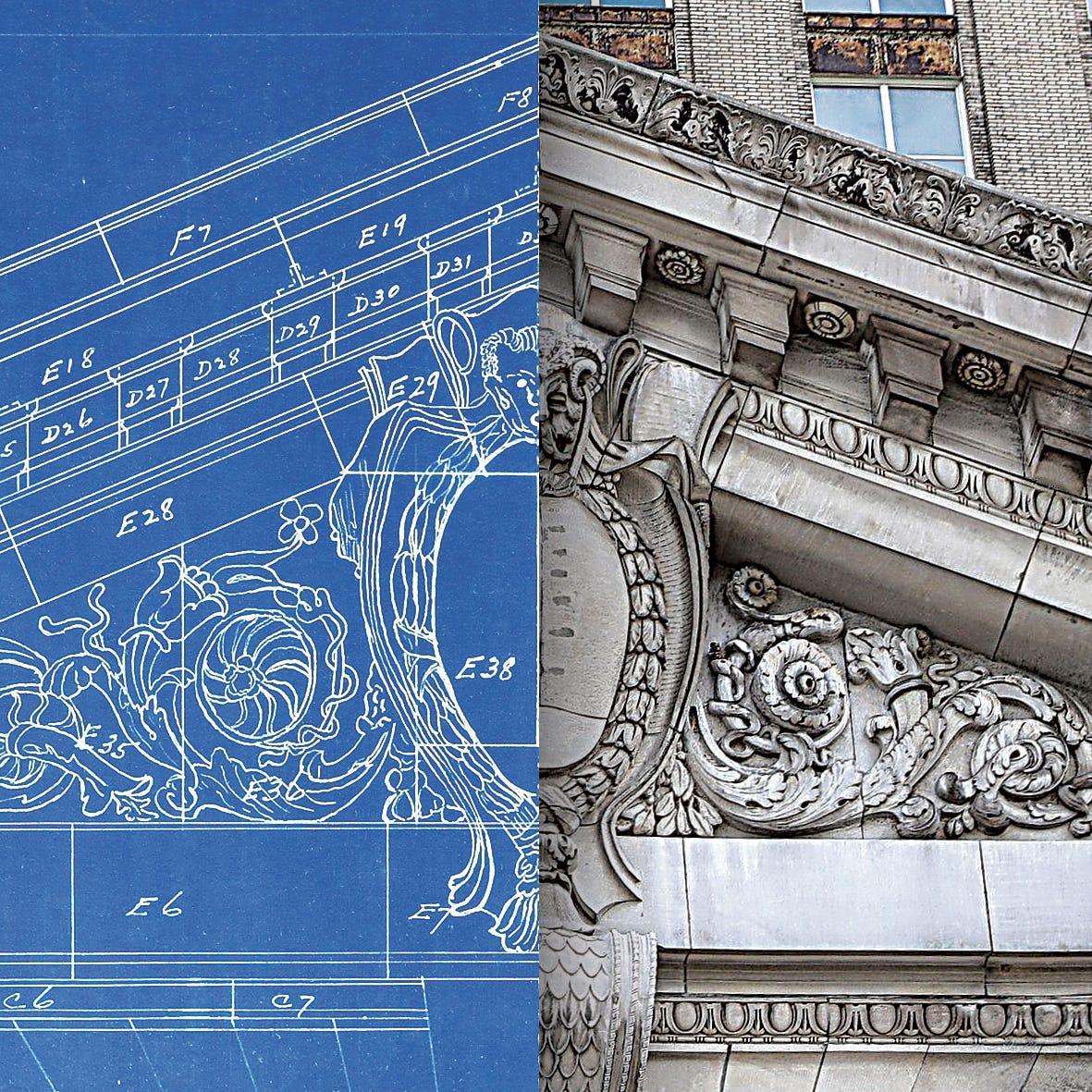 Detroit train station blueprint illustration