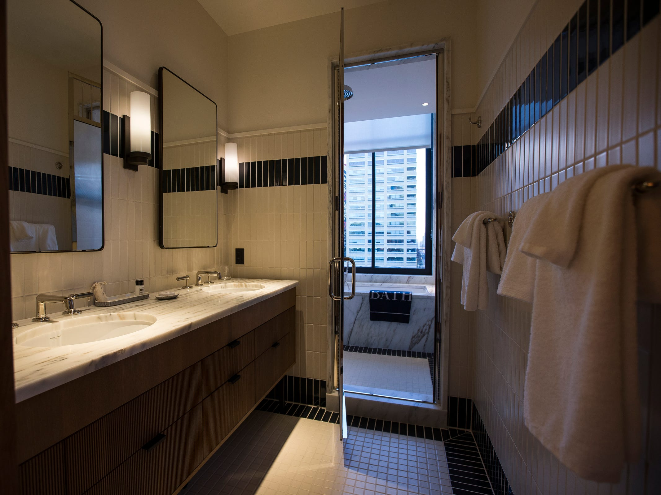 Bathroom in a gallery style guest room in the Shinola Hotel in downtown Detroit, Dec. 18, 2018. There are 15 different styles of guest rooms in the Shinola Hotel.