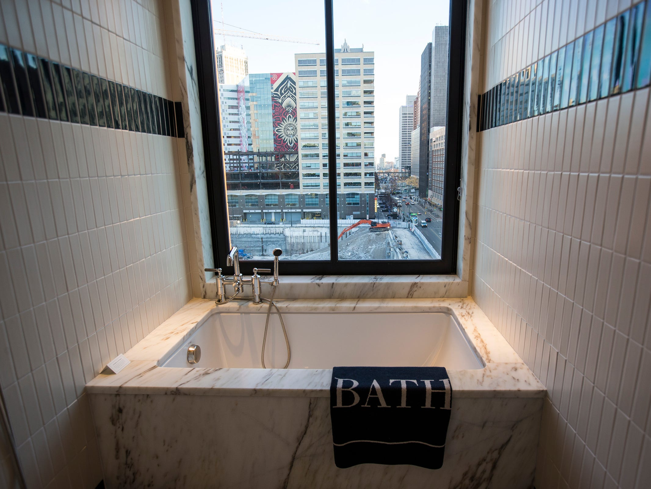 Bathtub in a gallery style guest room in the Shinola Hotel in downtown Detroit, Dec. 18, 2018. There are 15 different styles of guest rooms in the Shinola Hotel.