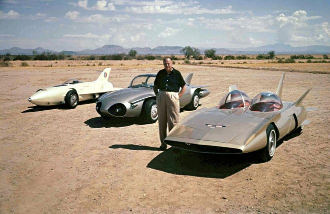 "Harley Earl — aka ""Hollywood Harley"" — produced some of the 20th-century's most-memorable cars. He's photographed in 1958 with Firebirds I-II-III."