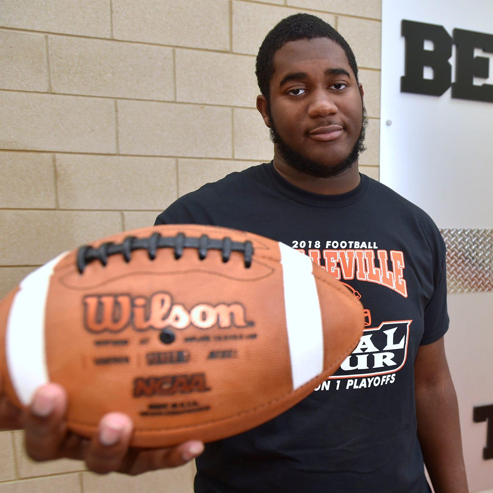 Belleville offensive lineman Devontae Dobbs is...