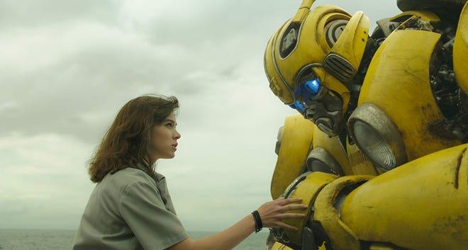 "Hailee Steinfeld and Bumblebee in ""Bumblebee."""