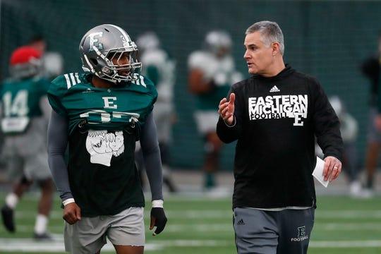 EMU football coach Chris Creighton