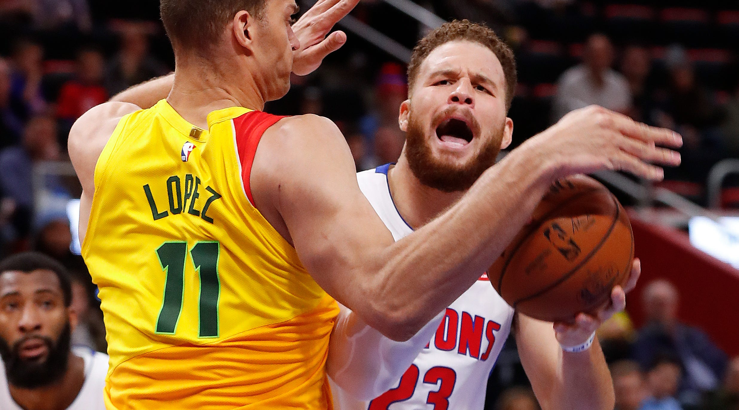 Milwaukee Bucks center Brook Lopez (11) fouls Detroit Pistons forward Blake Griffin (23) in the second half of an NBA basketball game in Detroit, Monday, Dec. 17, 2018.