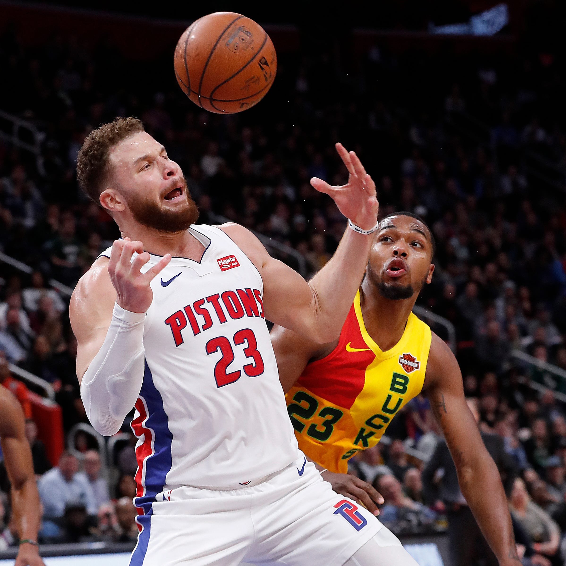 Detroit Pistons forward Blake Griffin loses the...