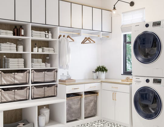 AT HOME for release DECEMBER 2018 HOME TOUCH Caption 5: A household can run without a wrinkle if the laundry room is organized when guests extend their stay. Give guests the option to do their laundry, should they need clean clothes.