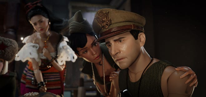 """Eiza Gonzalez, Janelle Monae and Steve Carell in """"Welcome to Marwen."""""""