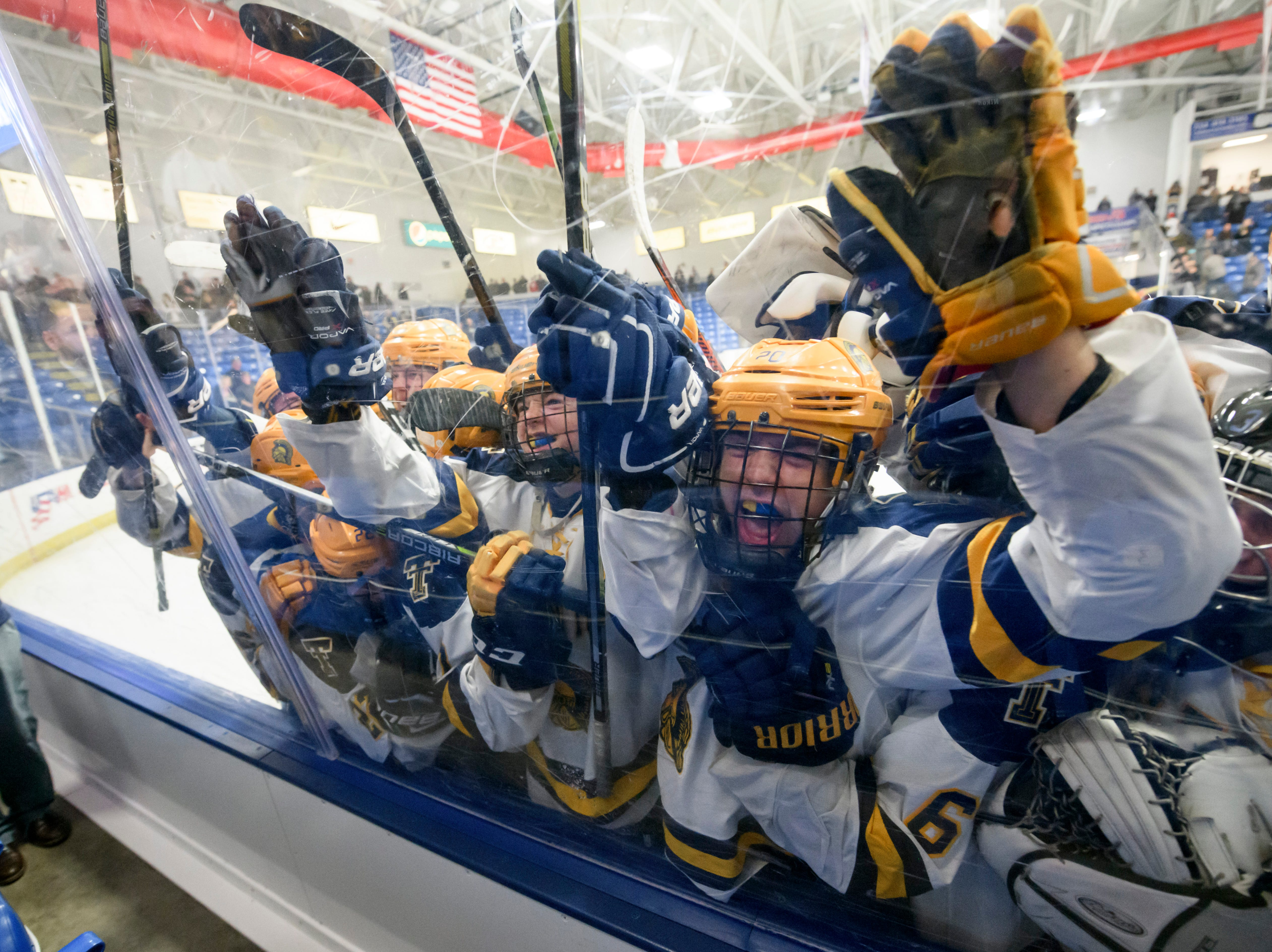 Trenton High School hockey players slam into the plexiglass barrier between them and their fans after defeating Birmingham Brother Rice 3-2 in the  MHSAA hockey semi-finals at USA Hockey Arena, in Plymouth on March 8, 2018.