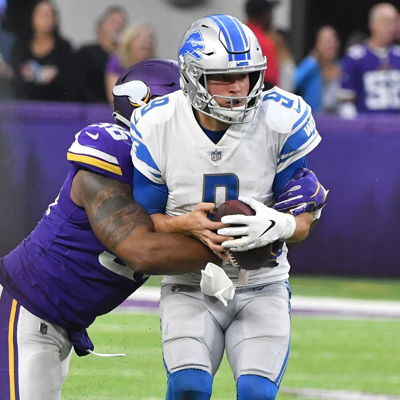 The Vikings sacked Lions quarterback Matthew...