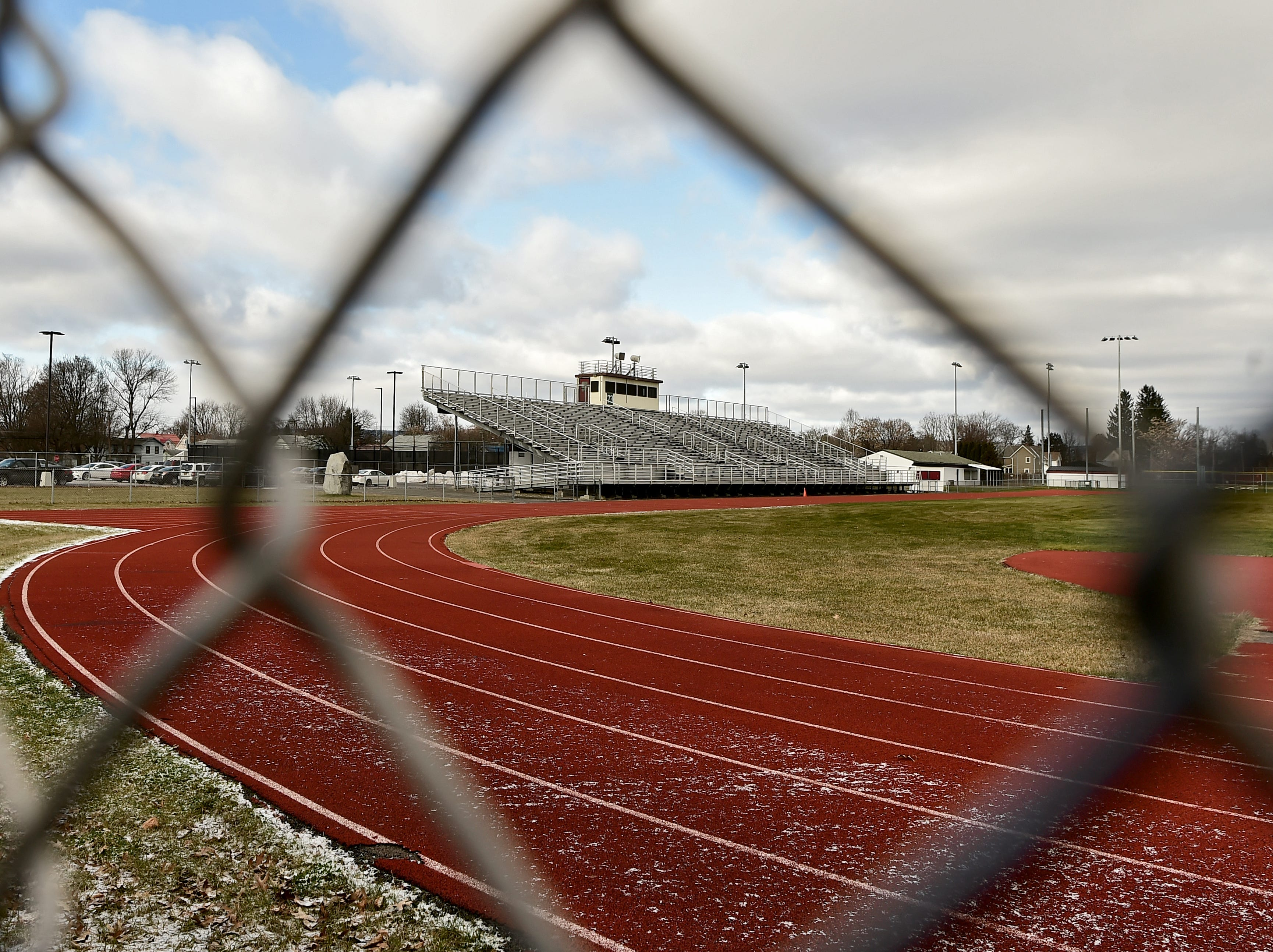 The Thomas J. Hurley Athletic Complex at Elmira High School. Testing revealed that the athletic field has high levels of polychlorinated biphenyls, or PCBs, which are known carcinogens.