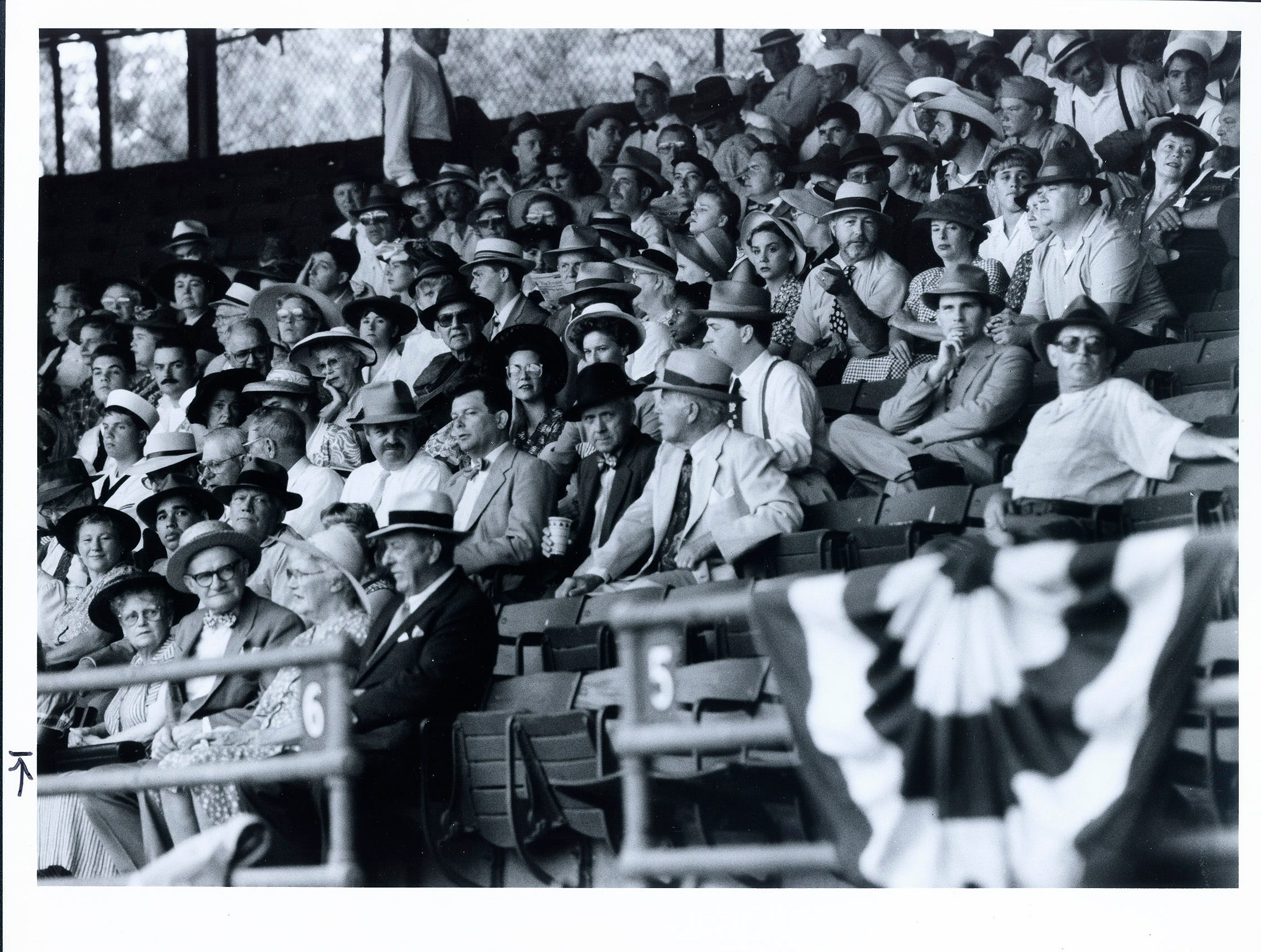 "Extras inside Bosse Field in Evansville, Ind. wearing 1940's style clothing, filled every seat during the filming of ""A League of Their Own."""