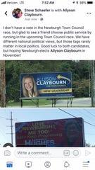 Steve Schaefer's Facebook post expressing support for Allyson Claybourn.