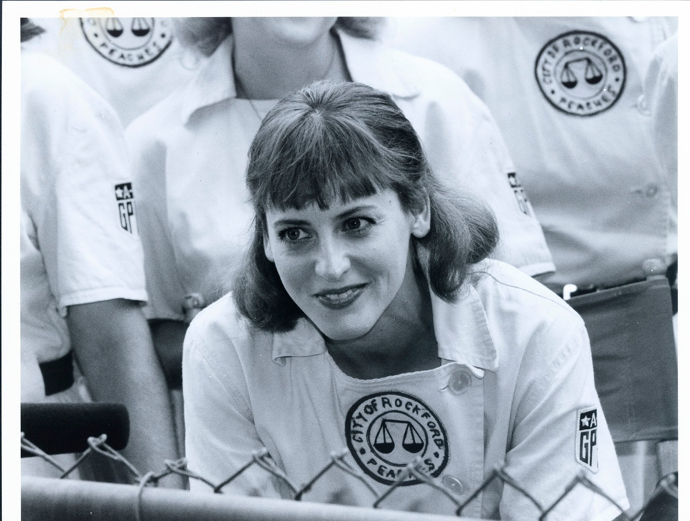 "Lori Petty on the set of ""A League of Their Own."""
