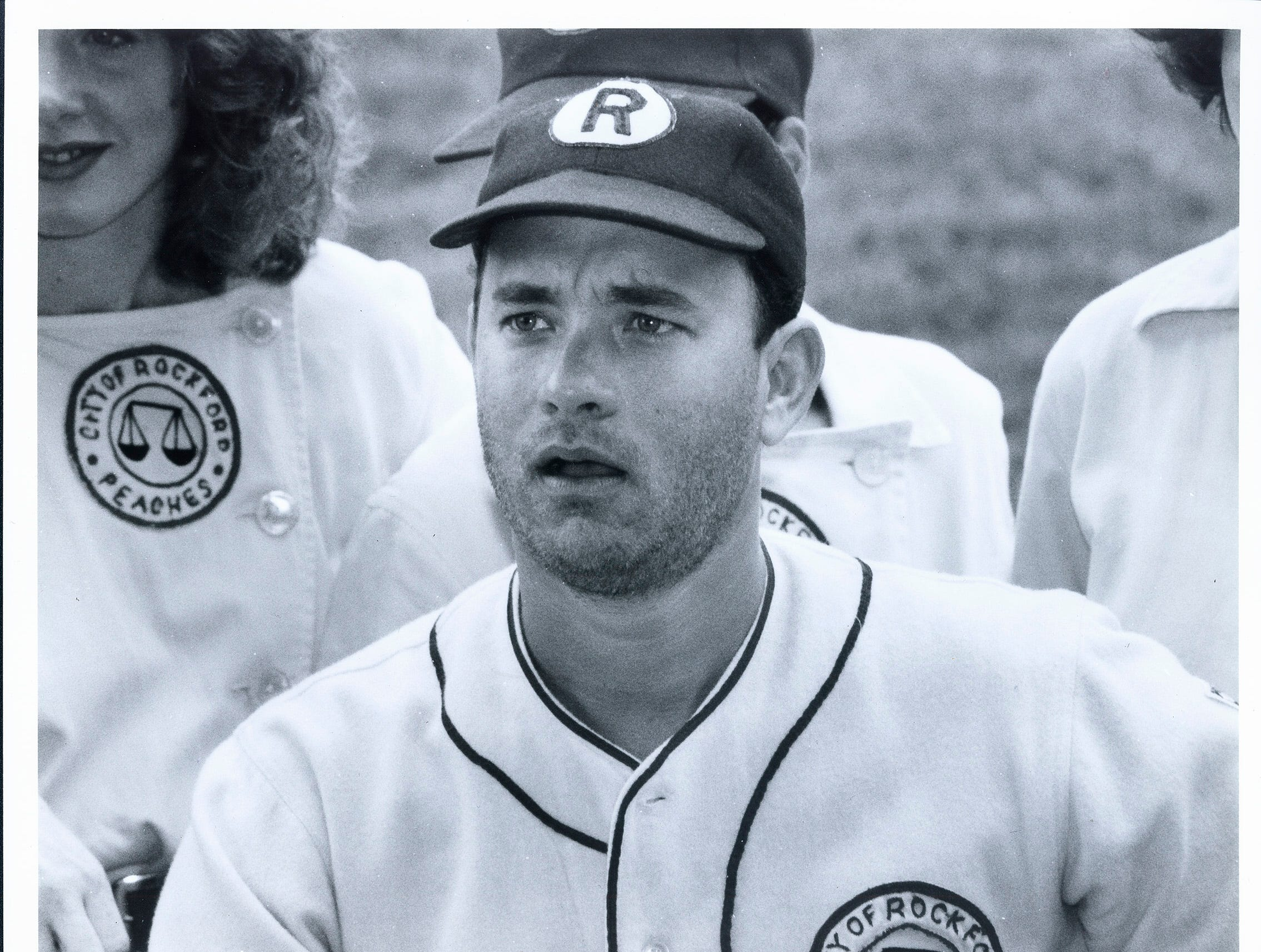 "Tom Hanks on the set of ""A League of Their Own."""