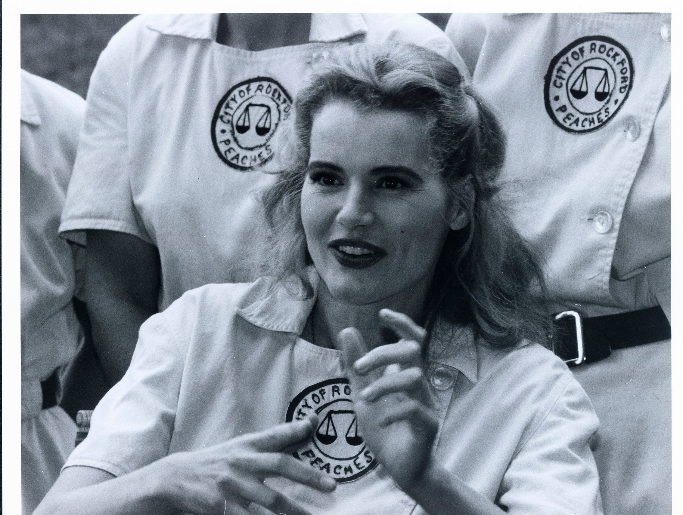 "Geena Davis on the set of  ""A League of Their Own."""