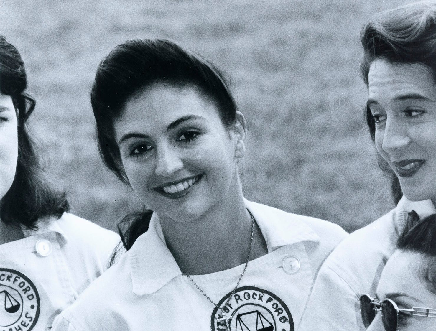 "Tracy Reiner on the movie set of  ""A League of Their Own."""