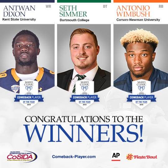 2018 Mayo Clinic Comeback Player of the Year Winners