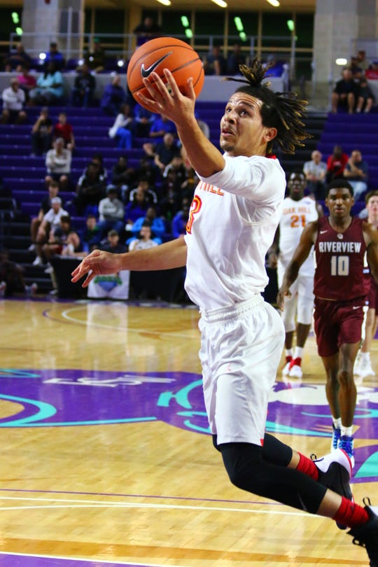 Oak Hill guard Cole Anthony, one of the top recruits in the nation, plays against Sarasota Riverview at the City of Palms Classic at Florida SouthWestern College on Monday, Dec. 17 in Fort Myers.