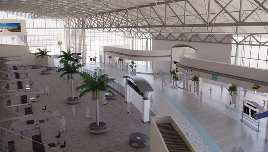 This concept sketch from late 2018 offers a bird's-eye view of an expanded passenger terminal at Southwest Florida International Airport.  To the left: the area just past the single, consolidated security checkpoint with a minimum of 14 lanes. To the right, the walkway leading to  the airport's three concourses and 29 air gates.