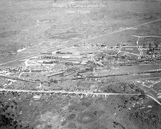 An aerial view of where the lumber mill stood.