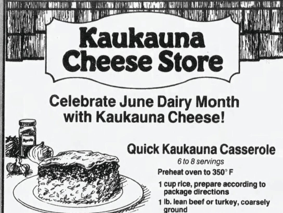 Rice, pasta sauce, meat and Kaukauna Cheese are the main ingredients in the Quick Kaukauna Casserole recipe from 1994.