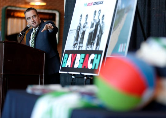 Green Bay Mayor Jim Schmitt talks about the Bay Beach restoration project on Tuesday, Dec. 18, 2018, at Lambeau Field, where the Green Bay Packers gave the city a $250,000 matching grant for the project.