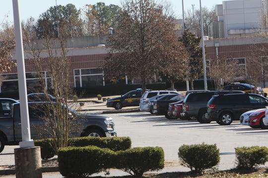 Sheriff deputy cars were inside and outside of the Carolina High School and Academy grounds.